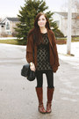Dark-brown-aldo-boots-black-clubcouture-dress