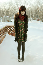 charcoal gray Forever 21 boots - green urban behavior dress