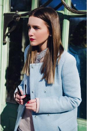 light blue Zara jacket - light pink Mango sweater - white asos shirt