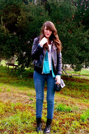 black jacket - black GoJane boots - white Forever 21 shirt - blue Cheap Monday j