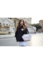 navy Guess cape - light pink Guess bag - white Zara pants