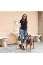 heather gray Gap jeans - brown Louis Vuitton bag - black Burberry t-shirt