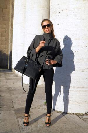 black Aldo shoes - black DKNY bag - black bvlgari sunglasses - gray amy gee cape