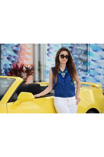 blue silvian heach shirt - dark gray bvlgari sunglasses - white Zara pants