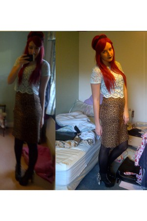 spike Jeffrey Campbell heels - leopard print Primark skirt - lace Newlook top