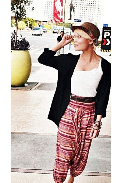 Alexandra Noval pants - Topshop hat - New York and Company top - H&M cardigan