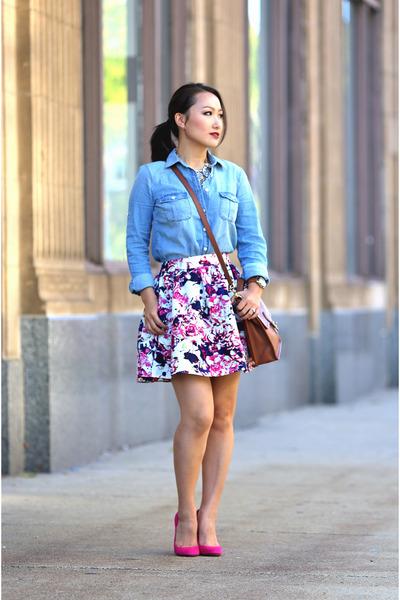 Express skirt - Zara shoes - JCrew shirt - coach bag - banana republic necklace
