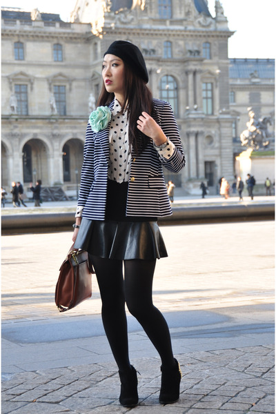 Zara boots - banana republic blazer - coach bag - JCrew blouse - Zara skirt