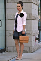 light pink Zara blazer - black Zara dress - bronze JCrew bag