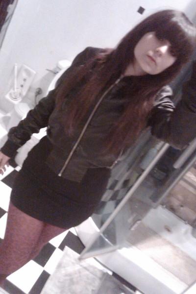 black Terranova jacket - black Pull and Bear skirt - pink Jonathan Aston tights