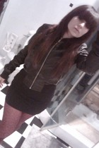 black Terranova jacket - black Pull and Bear skirt - pink Jonathan Aston tights