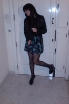 black Terranova jacket - black Peacocks tights - black asos shoes - black Bossin