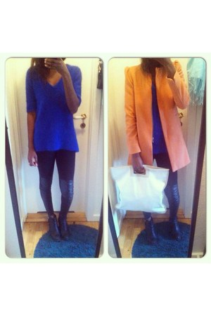 black boots - carrot orange Zara coat - black H&M Trend tights