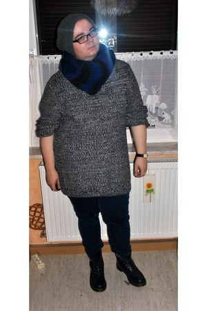 Dr Martens boots - charcoal gray DIY hat - navy ombre DIY scarf - navy H&M pants