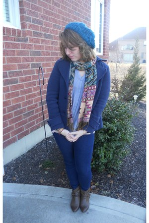 navy Forever 21 jeans - navy Forever 21 coat - heather gray American Eagle blous