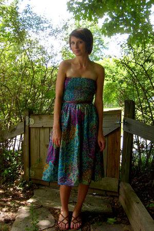 blue bamboo trading company dress - brown Urban Outfitters belt - brown Nine Wes