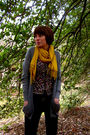 Gray-jcrew-cardigan-gold-urban-outfitters-scarf-black-urban-outfitters-top-