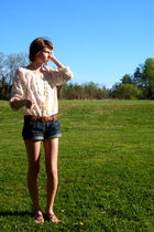 white vintage top - brown thrifted belt - blue American Eagle shorts - brown Nin
