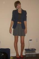 blazer - Old Navy t-shirt - belt - Urban Outfitters skirt - shoes