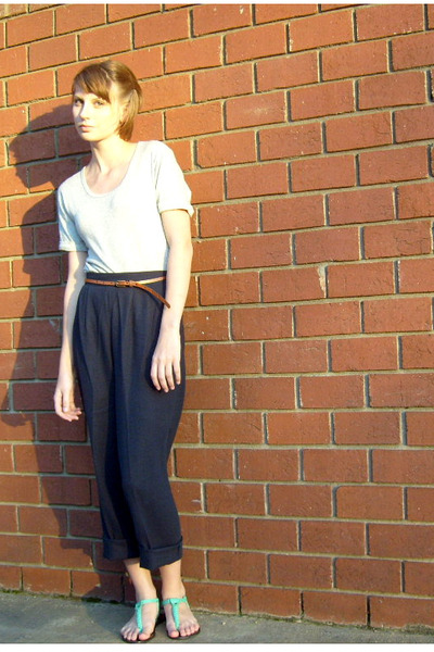 gray Gap dress - brown Urban Outfitters belt - blue thrifted pants - green Ecote