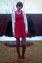 white Old Navy cardigan - red Urban Outfitters dress - brown Target tights - red