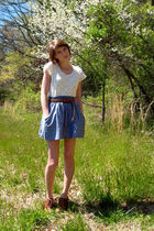 white thrifted top - brown thrfited belt - blue Ross skirt - brown Forever 21 sh
