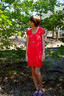 Pink-j-crew-dress-silver-american-eagle-necklace-blue-urban-outfitters-shoes