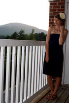 white Forever 21 accessories - blue J Crew dress - brown Nine West shoes