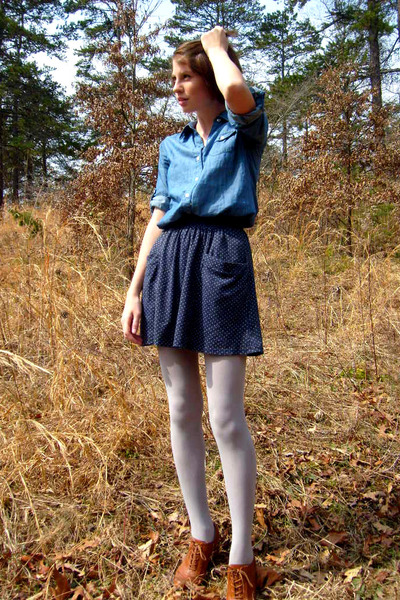 blue Old Navy shirt - gray Urban Outfitters skirt - gray Target tights - brown F