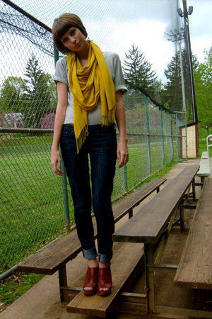 gray Gap dress - gold Urban Outfitters scarf - blue JCrew jeans - brown Yellowbo