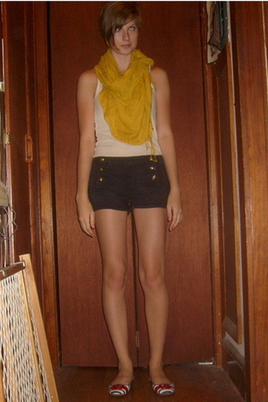 Urban Outfitters scarf - Old Navy top - Old Navy shorts - shoes