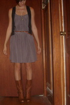 vest - Gap dress - Gadzooks necklace - Urban Outfitters belt - gianni bini boots