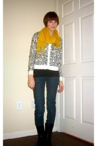 gold Urban Outfitters scarf - white Gap cardigan - blue Charlotte Russe jeans -