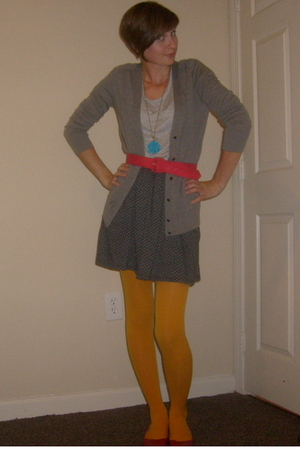 Gap dress - J Crew sweater - forever 21 necklace - thrifted belt - Urban Outfitt