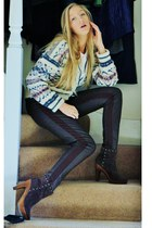 cream knitted wool Laura Ashley jumper - dark brown studded suede Primark boots