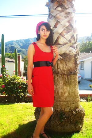 red dress - black anchorblue belt