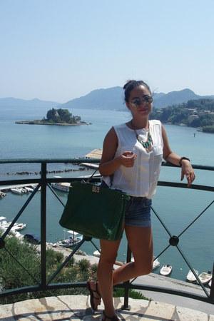 green Fendi bag - jeans H&M shorts - black python Aldo sandals