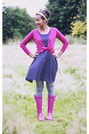 Oasis accessories - Joules boots - navy polka dot next dress