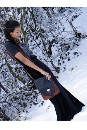 black H&M skirt - navy vintage bag - H&M accessories