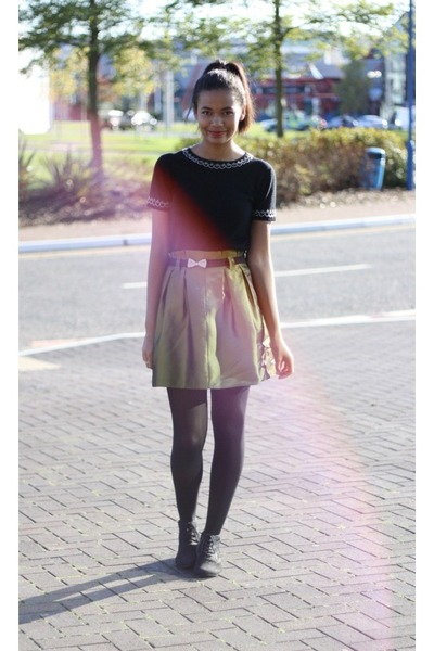 thrifted skirt - Monsoon sweater - black opaque Topshop tights - Topshop belt