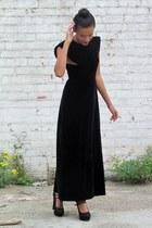 black suede new look heels - black velvet vintage from Ebay dress