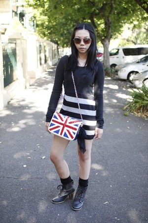 union jack thrifted bag - military heel cotton on boots