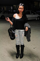knee-high boots Nine West boots - faded ripped supre jeans - balenciaga bag