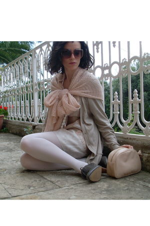 pink H&M dress - beige Promod cardigan - gray Pimkie shoes - pink H&M scarf - pi