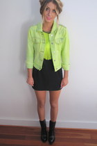 yellow denim studded fly by bright night jacket