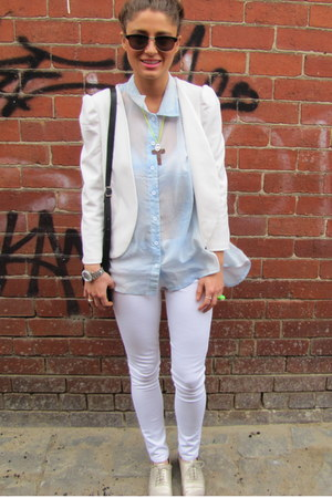 white white skinny cotton on jeans - silver brogues Cole Han shoes