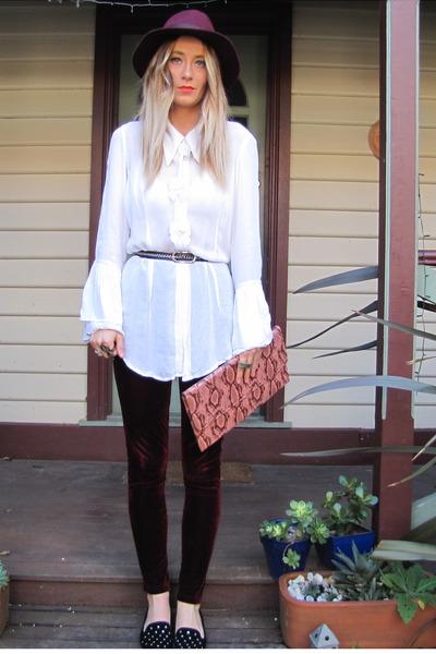 crimson velvet leggings - brown Sportsgirl bag