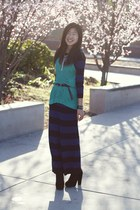 navy maxi Old Navy dress - turquoise blue knit ann taylor top