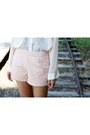 Peach-beaded-leather-forever-21-shorts-cream-sheer-forever-21-shirt