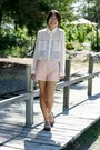 Cream-sheer-forever-21-shirt-peach-beaded-leather-forever-21-shorts
